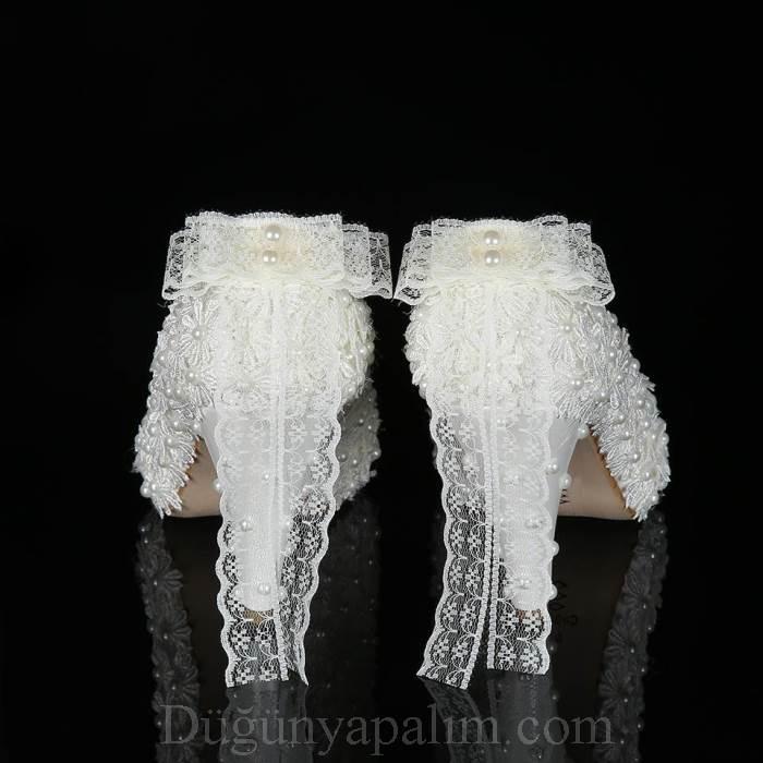 10 cm topuk papatya tasarımlı gelin ayakkabısı